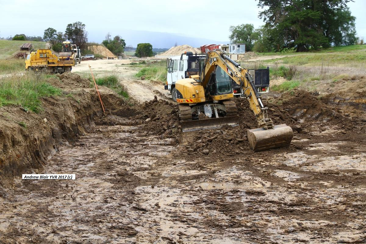 Clearing out swamp holes at Tarrawarra